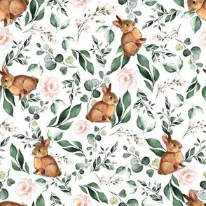 Floral Bunnies White