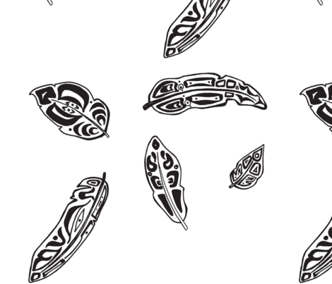 black and white feathers fabric by kyleevelyn on Spoonflower - custom fabric