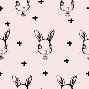 Hipster Bunnies Dusty Pink