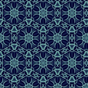Midnight Blue and Teal Hexagons