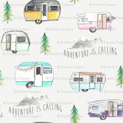 Retro Campers//Adventure is calling - w/Purple Campers