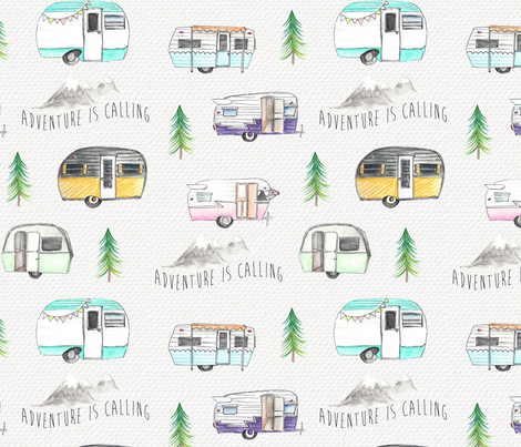 Retro Campers//Adventure is calling - w/Purple Campers fabric by longdogcustomdesigns on Spoonflower - custom fabric