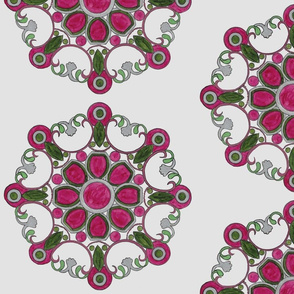 Red Violet ,Green medallion on silver
