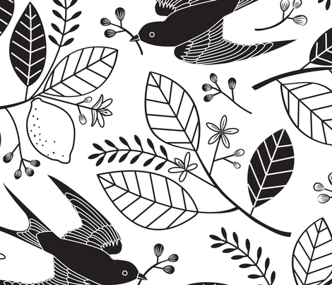 The Lemon Tree - Black & White fabric by lellobird on Spoonflower - custom fabric