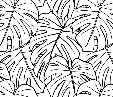 Monstera Leaves - Large fabric by caytelyn on Spoonflower - custom fabric