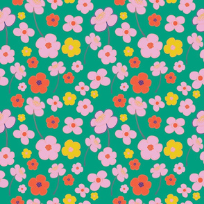 Retro Floral in Green