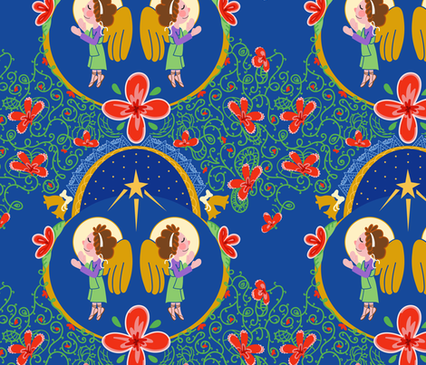The angels sing the birth of Christ fabric by edrouga on Spoonflower - custom fabric
