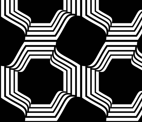 Octagons Black & White Large Scale Jumbo fabric by things2think on Spoonflower - custom fabric