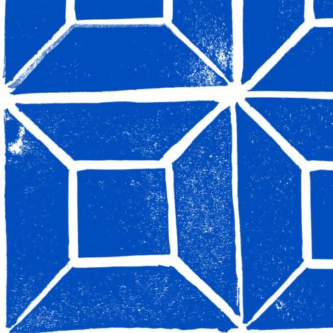 Geometric lino - cobalt blue - large fabric by crumpetsandcrabsticks on Spoonflower - custom fabric