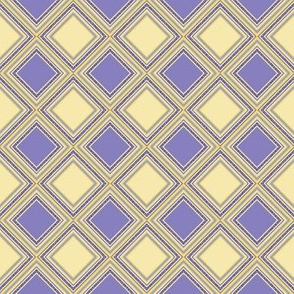 FNB1 - Small -  Diamonds on Point Cheater Quilt Texture in Lemon Yellow - Violet