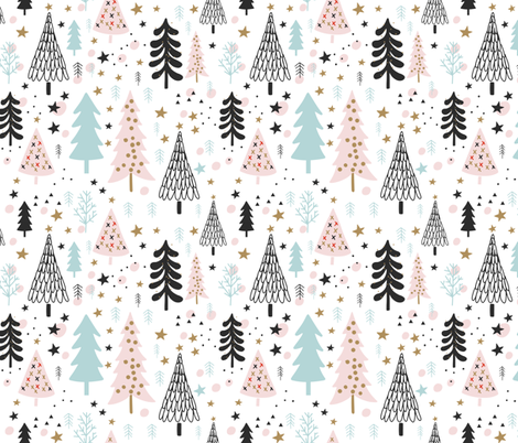 Christmas trees pattern fabric by fruestig on Spoonflower - custom fabric