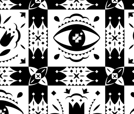 BIG BLACK WHITE PRINT final fabric by blue_platypus_fabrics on Spoonflower - custom fabric