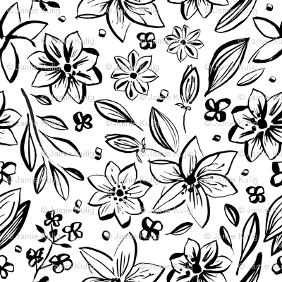 Black & White Flowers