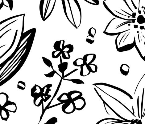 Black & White Flowers fabric by jamiekulig on Spoonflower - custom fabric