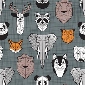 Friendly Geometric Animals // small scale // green grey linen texture background black and white orange brown and grey deers bears foxes wolves elephants raccoons lions owls and pandas