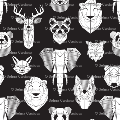 Friendly Geometric Animals // jumbo large scale // black background white deers bears foxes wolves elephants raccoons lions owls and pandas