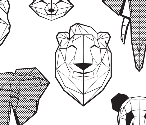 Friendly Geometric Animals // jumbo large scale // white background black and white deers bears foxes wolves elephants raccoons lions owls and pandas fabric by selmacardoso on Spoonflower - custom fabric
