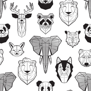 Friendly Geometric Animals // jumbo large scale // white background black and white deers bears foxes wolves elephants raccoons lions owls and pandas