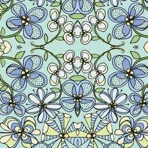 Blue flower stripe-blue