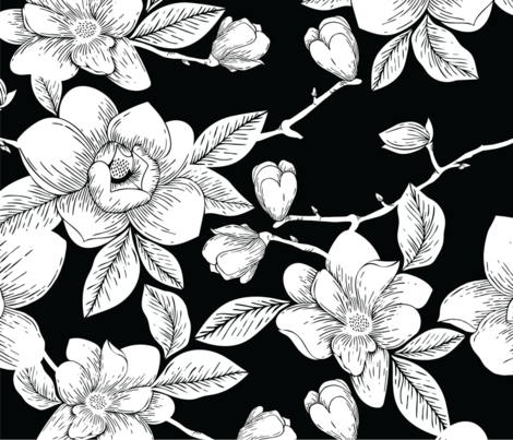 White Magnolias fabric by kelsey_krzmarzick_design on Spoonflower - custom fabric