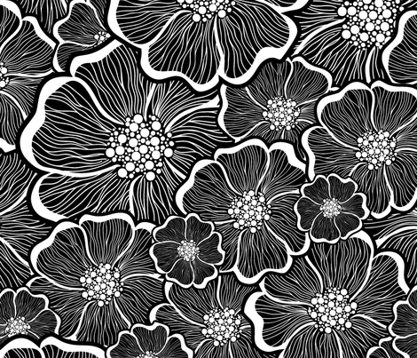 black_and_white_large_flower_power_24inch fabric by agga_design on Spoonflower - custom fabric