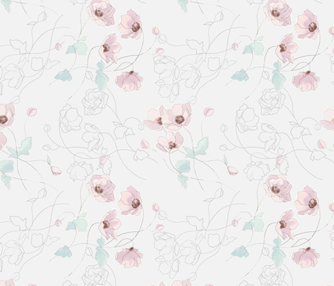Watercolor Anenome fabric by melanie_hodge on Spoonflower - custom fabric