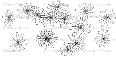 large scale black and white flowers