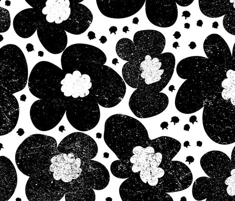 Black Daisy fabric by orangefancy on Spoonflower - custom fabric