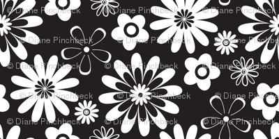 Large Scale Black and White Geometric Floral
