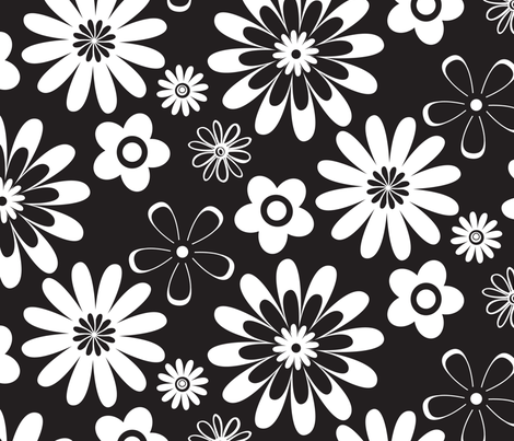 Large Scale Black and White Geometric Floral fabric by diane_rooney on Spoonflower - custom fabric