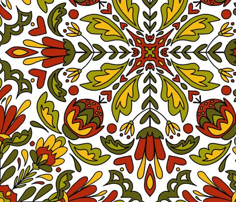 Scandinavian folk  fabric by carrie_ellen_art_studio_ on Spoonflower - custom fabric