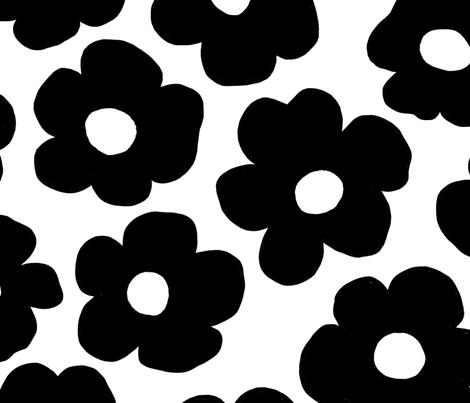 Big Flowers Black on White fabric by bexmorley on Spoonflower - custom fabric