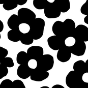 Big Flowers Black on White