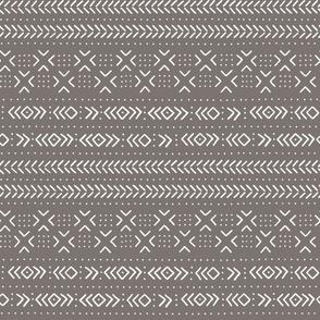 Mud cloth dark grey ivory medium