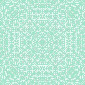 Mint green and white circles