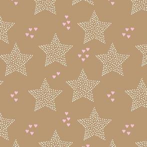 Christmas stars light dreamy winter night love ochre sand pink