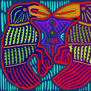Kuna Twin Parrots - Orange