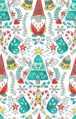 Folk Tomte and Tree Christmas // swedish  scandinavian folk art gnome christmas tree holiday  stocking candy cane holly giftwrap fabric