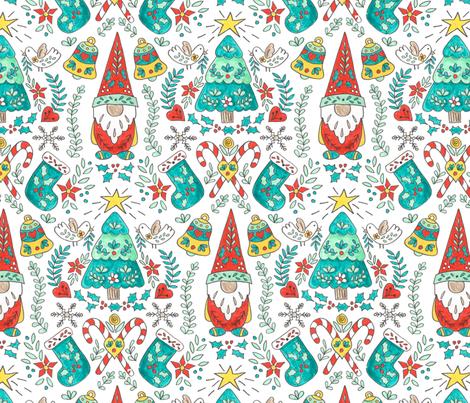Folk Tomte and Tree Christmas // swedish  scandinavian folk art gnome christmas tree holiday  stocking candy cane holly giftwrap fabric fabric by liz_sawyer_design on Spoonflower - custom fabric