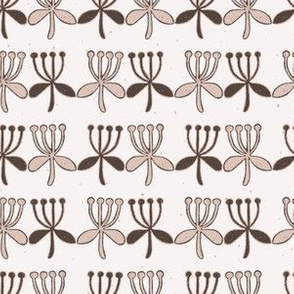 Stylized Flower Stripes  Folk Art Floral  Hand Drawn