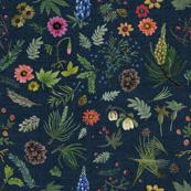 sierra botanical - dark denim - blue lupin