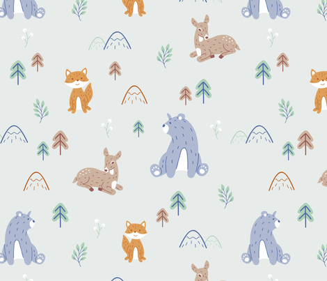 Animals in the mountains fabric by dominika_fasciszewska on Spoonflower - custom fabric
