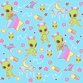 Pastel Aliens on Blue