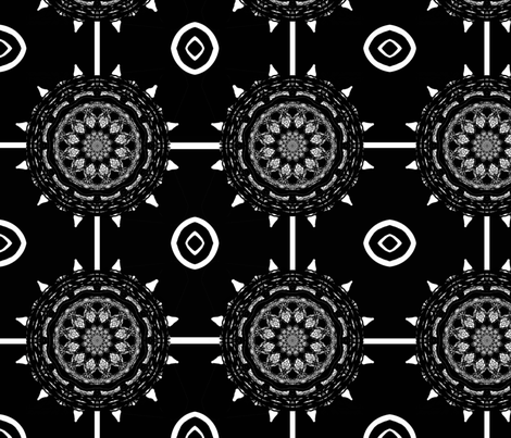 BW Star With Flower fabric by carlacryptic on Spoonflower - custom fabric