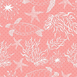 Coral sea turtle leaves plants polka dot pattern