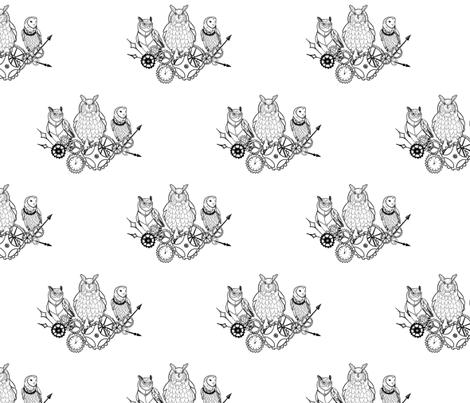 Owl geared up // black and white fabric by lemon_chiffon on Spoonflower - custom fabric