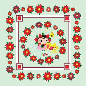 Poinsetta Fairy Fabric Throw Pillow Mint