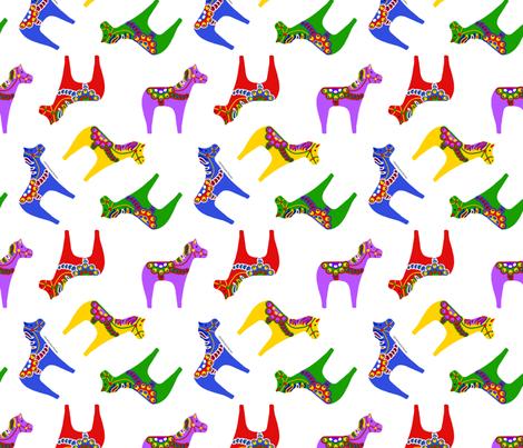 Scandinavian Dala Horses fabric by ms__contrary on Spoonflower - custom fabric