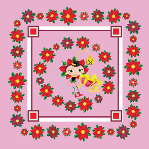 Poinsetta Fairy Throw Pillow Pink