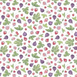 summer fruit scatter pattern on white small